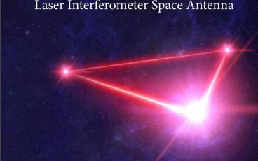 "Cover of the LISA proposal document showing a representation of the triangular pattern of the planned LISA spacecraft with Earth in the background and a starry field in the far background. The title reads ""LISA: Laser Interferometer Space Antenna"". The subtitle is ""A proposal in response to the ESA call for L3 mission concepts"" At the bottom reads: ""Lead Proposer: Prof. Dr. Karsten Danzmann"""